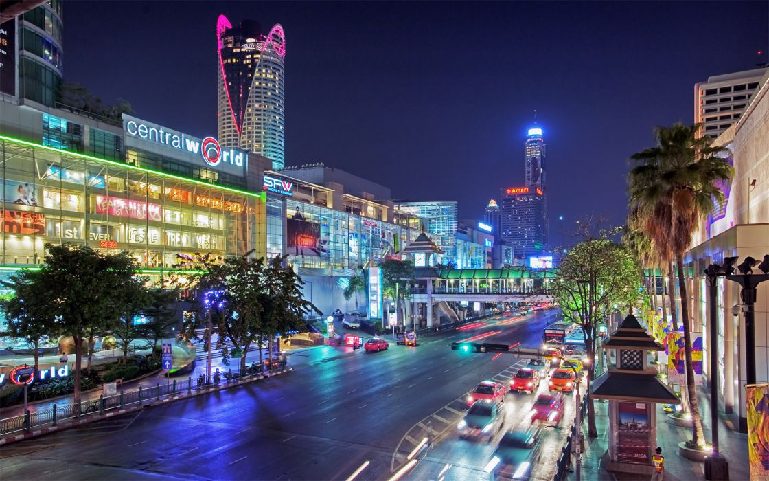 Thailand Bangkok cities architecture buildings street roads traffic cars night lights wallpaper