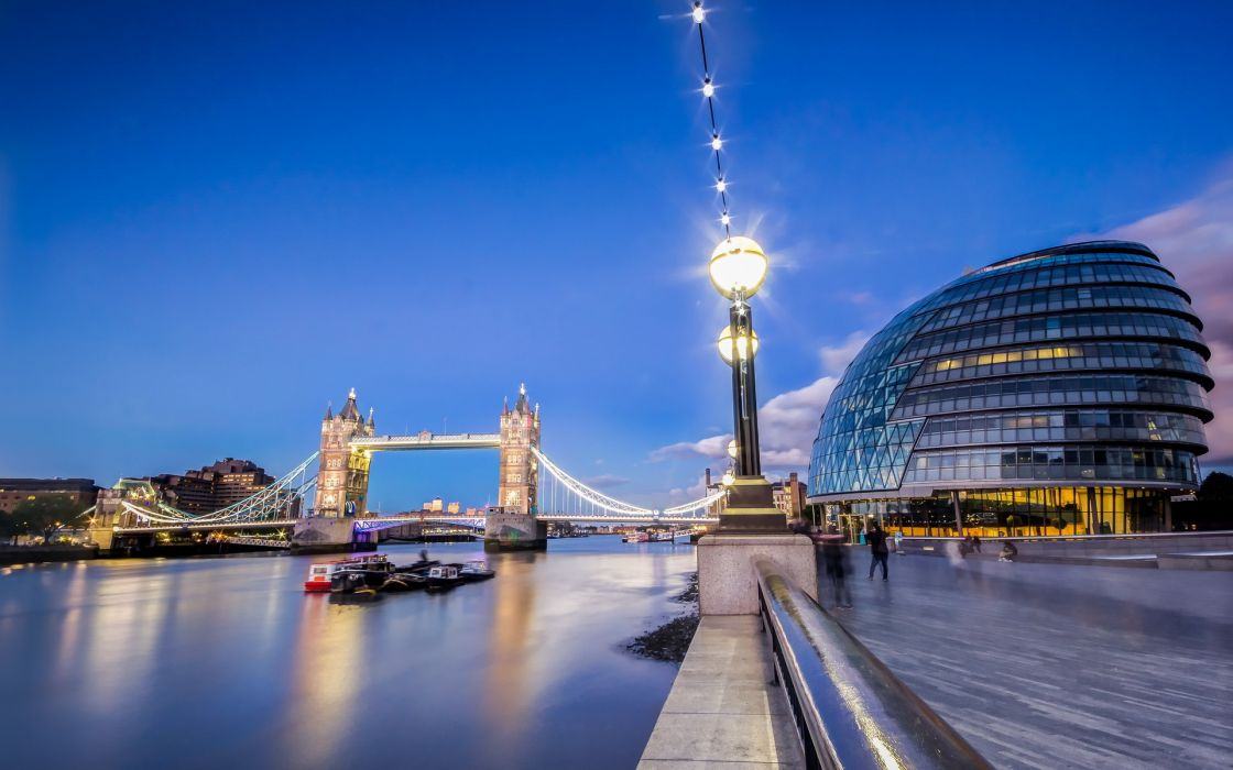 Toer Bridge architecture buildings people glass rivers boats lamp post sky night lights cities wallpaper