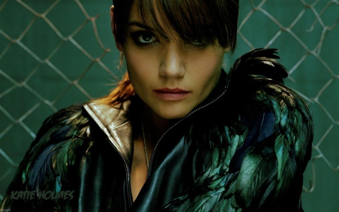 women actress celebrity katie holmes feathers females face eyes pov sexy babes wallpaper