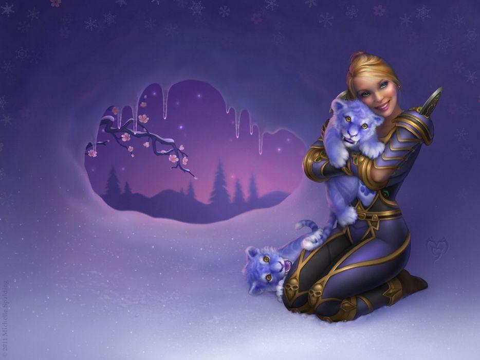 world of warcraft girls fantasy tiger cubs babies wome females blondes wallpaper