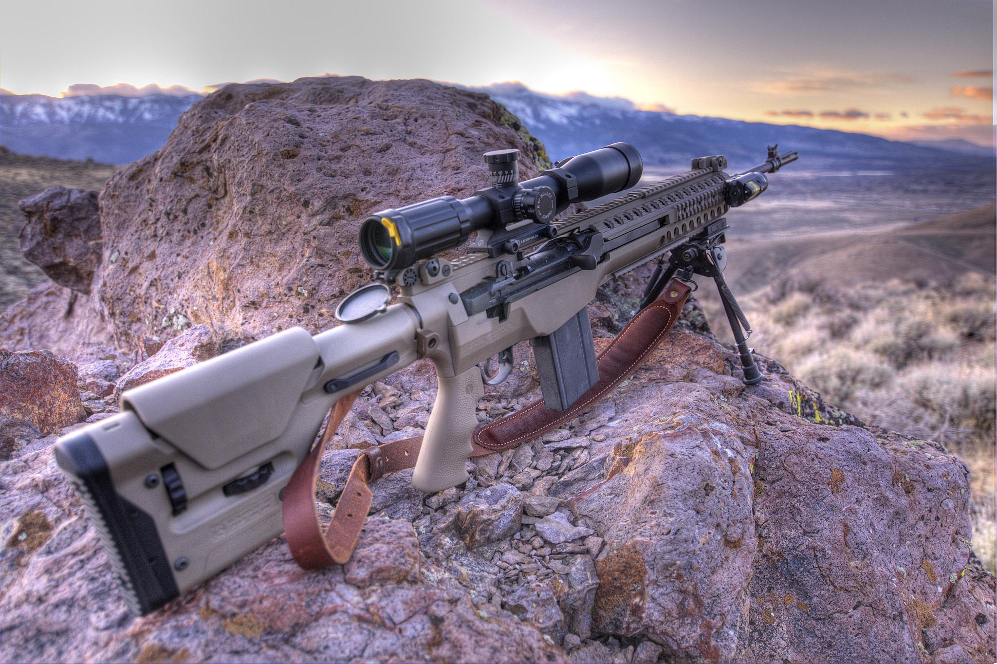 Troy MCS M1A M14 weapons guns assault rifles landscapes ... M14 Wallpaper