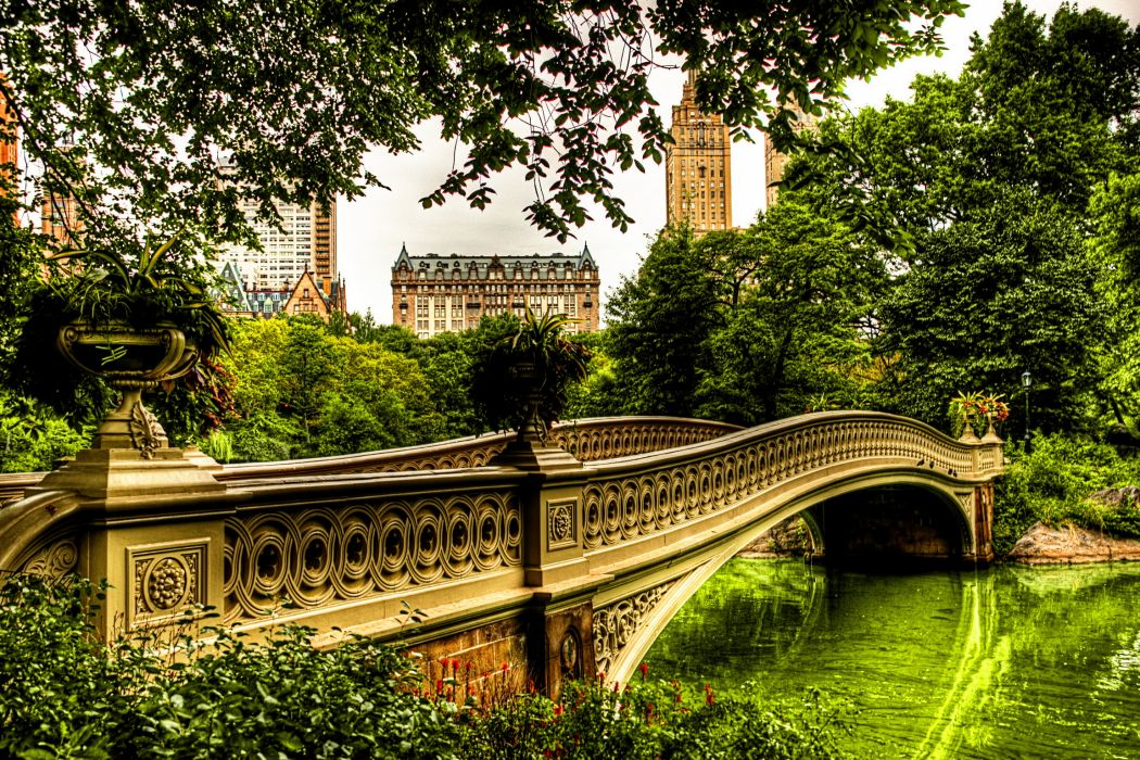 USA Parks Bridges Central New York City HDR Cities architecture buildings trees park wallpaper