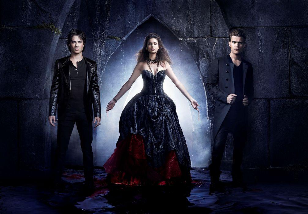 Vampire Diaries television nini women females men males sexy babes brunettes wallpaper