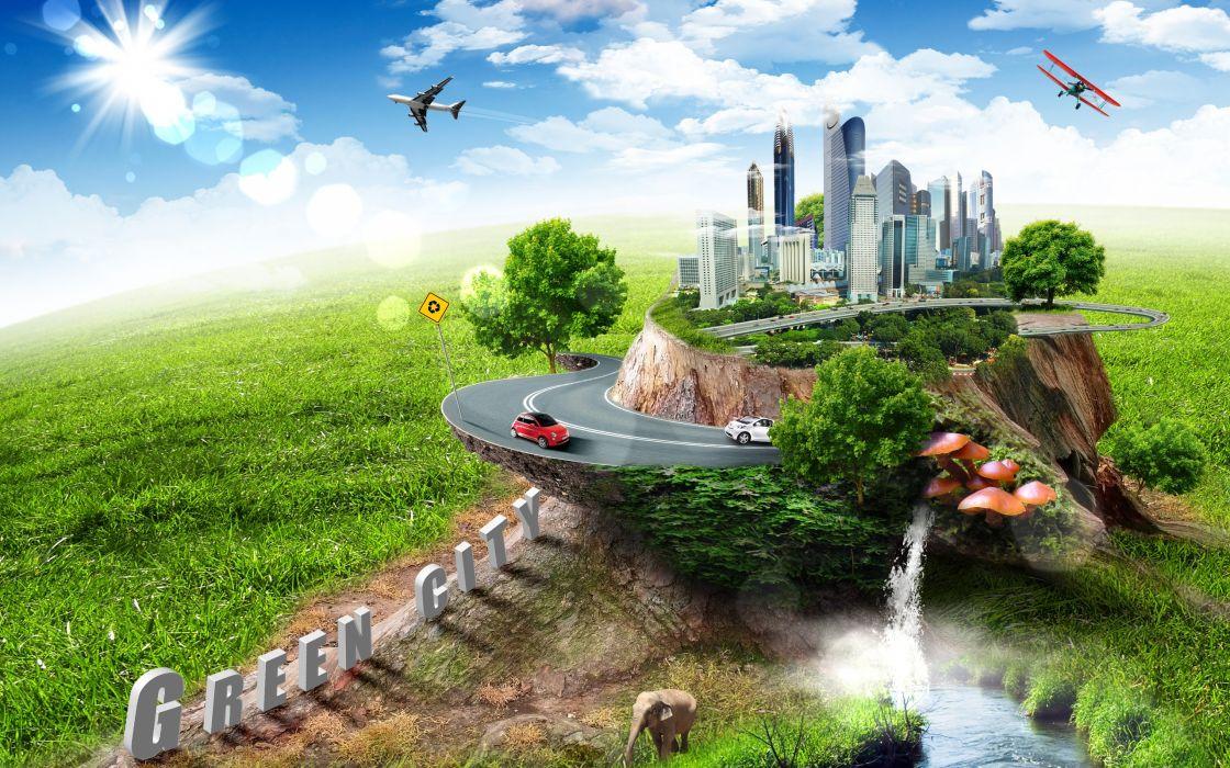 cg digital art manipulation cities roads animals world mood earth wallpaper