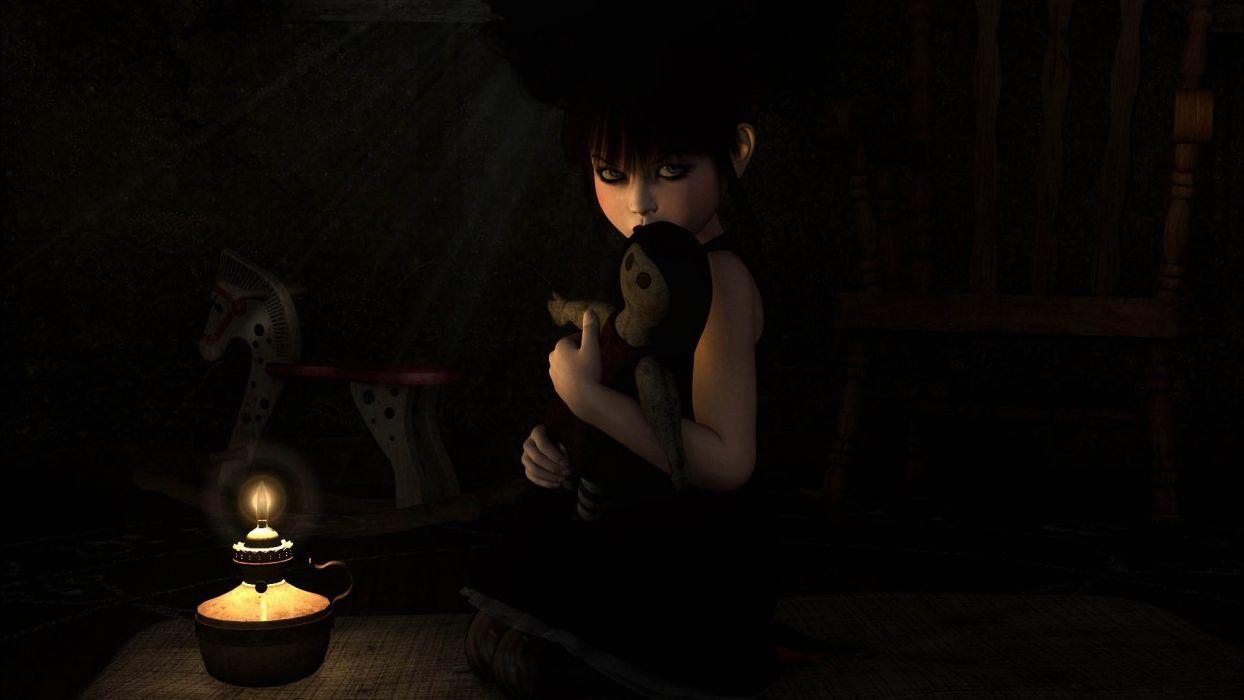 fantasy art dark toy girl females face spooky creepy mood fire flame lamp light wallpaper