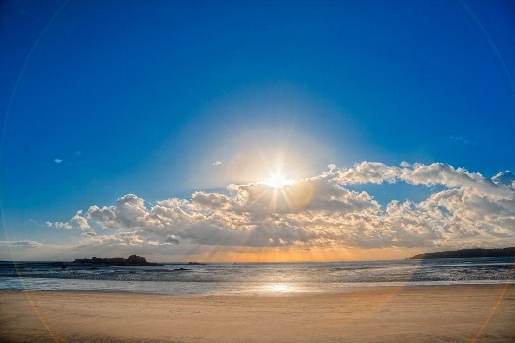 nature beaches ocean sea sky clouds sunset sunrise wallpaper