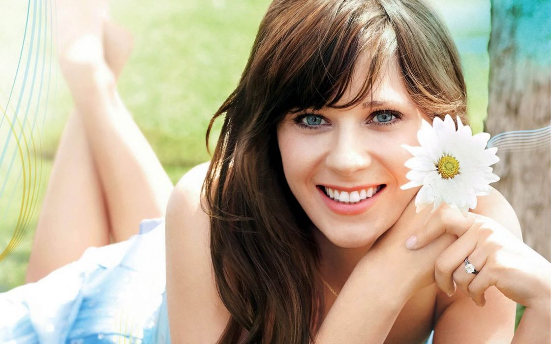Zooey Deschanel actress women females girls brunettes sexy babes face pov       k wallpaper
