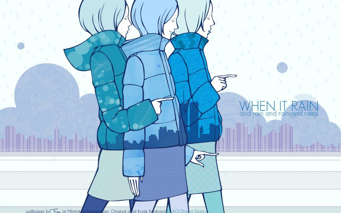 original anime kunie kanbara mood rain wallpaper