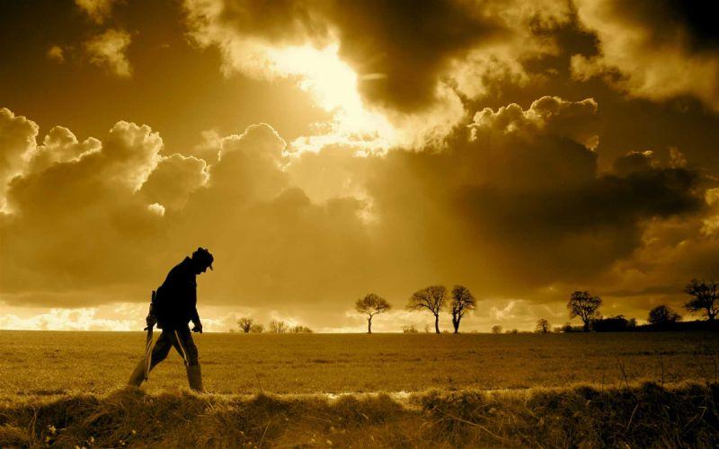 mood people men males landscapes umbrella sky clouds sunset sunrise wallpaper