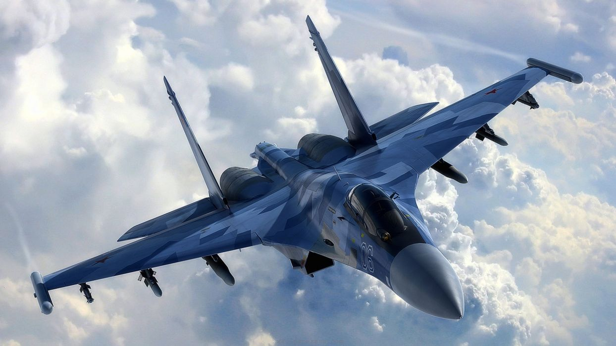 Su-35 Fighter Jet russia weapons flight sky clouds wallpaper