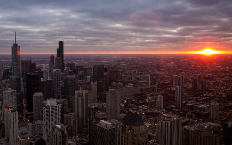 Chicago Buildings Skyscrapers Sunset architecture cities sky clouds sunrise wallpaper