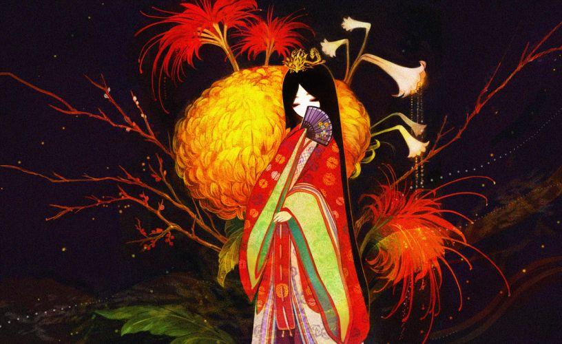 Chrysanthemum fan kimono drawing girl original anime wallpaper