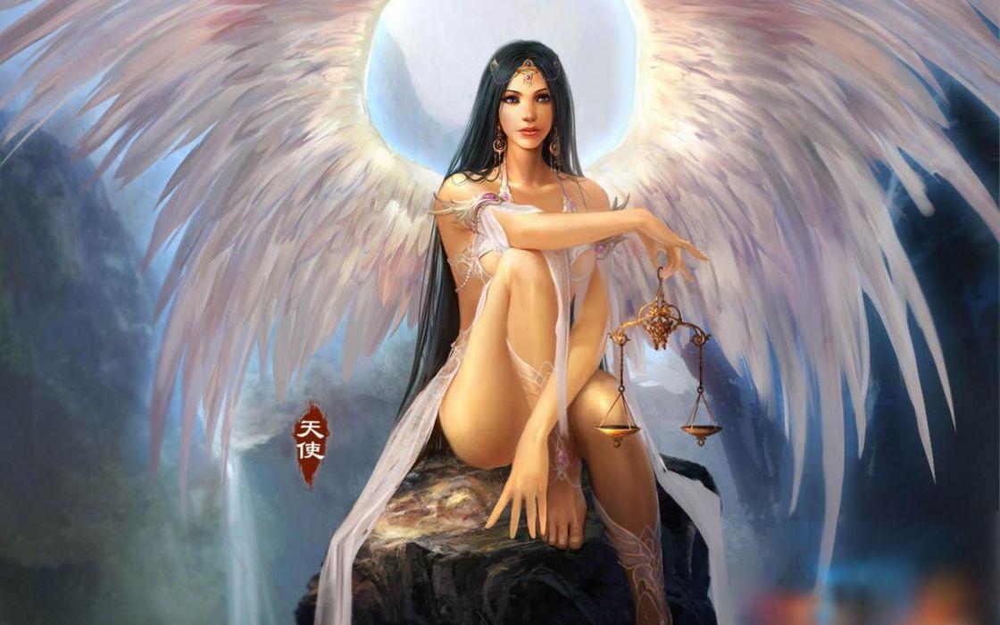 fantasy art angels women females girls babes sexy wings wallpaper