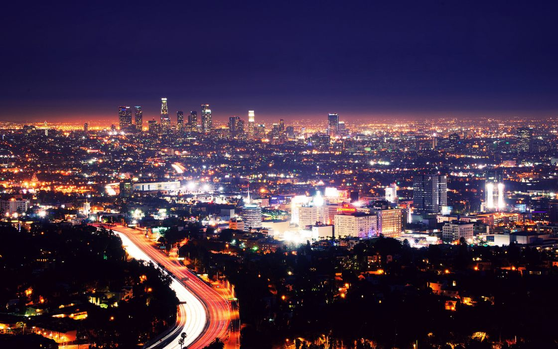 los angeles cities architecture buildings skyscrapers night lights roads hdr wallpaper