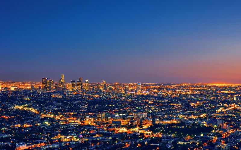 los angeles cities architecture buildings skyscrapers night lights sunset sunrise wallpaper