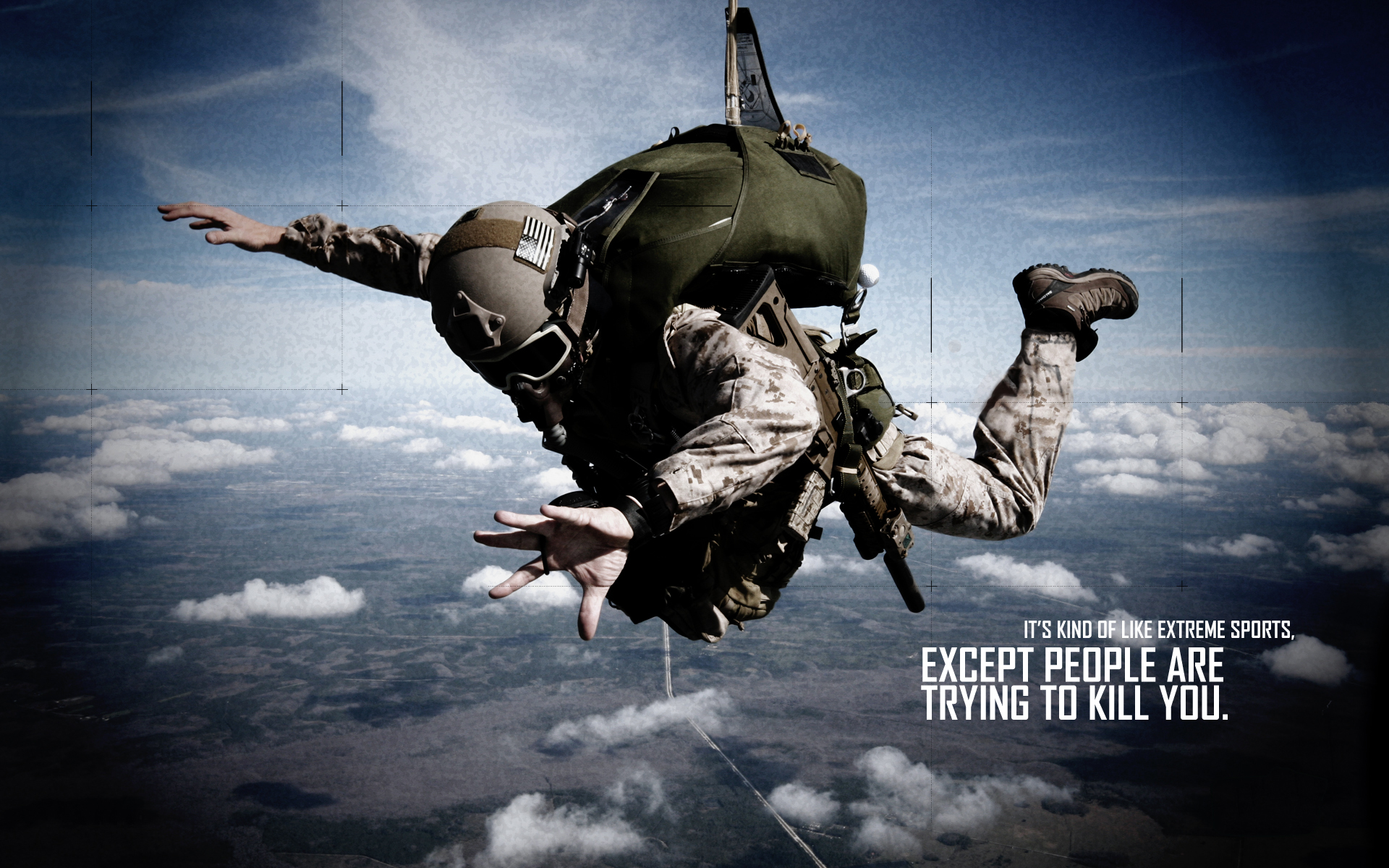 Soldier Skydive Fall Paratrooper warriors mask military text quotes    Paratrooper Wallpaper