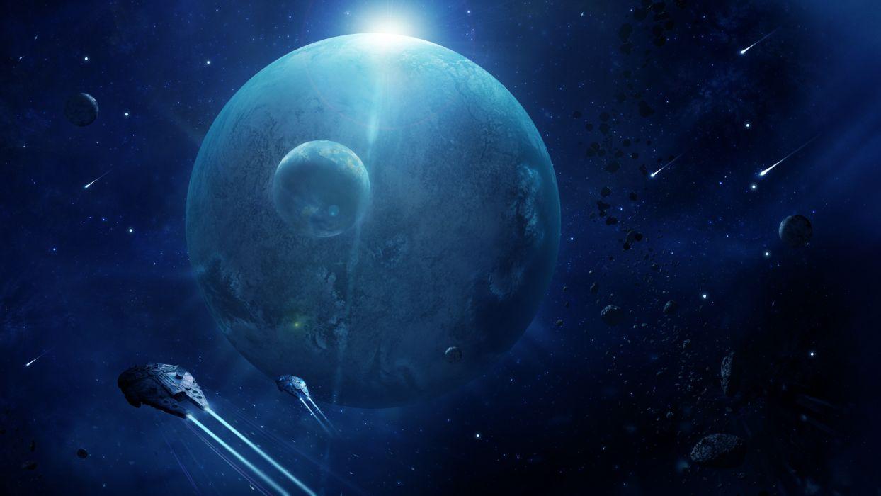 Star Wars Millennium Falcon Blue Spaceship Planets Stars Debris Starlight sci-fi movies spacecraft wallpaper