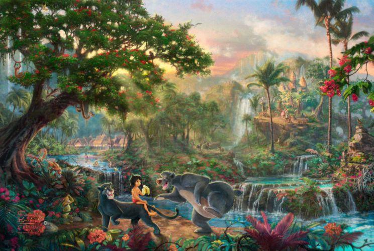 The Jungle Book Thomas Kinkade Walt Disney art cartoon movie wallpaper