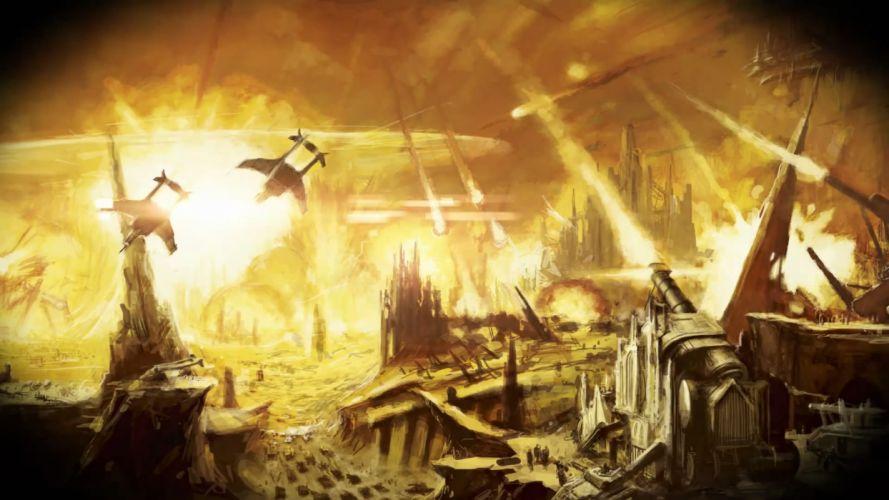 Warhammer 40k Space Marines Drawing battle vehicles war sci-fi landscapes wallpaper