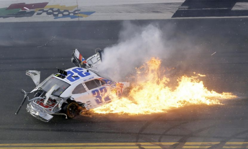 2013 NASCAR Nationwide Series Daytona racing race cars accident wreck track disaster sports stock wallpaper
