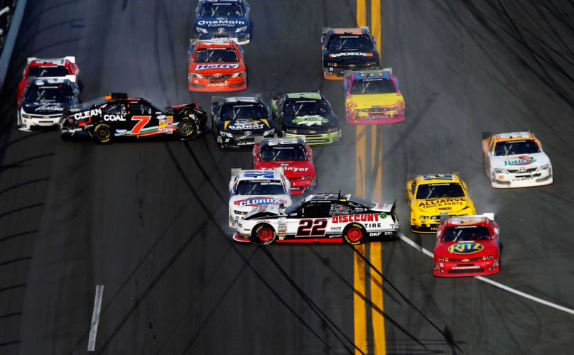 2013 NASCAR stock car Nationwide Series Daytona racing race cars accident wreck track disaster sports wallpaper