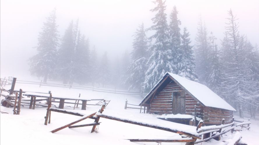 architecture houses cabin shed fence winter snow nature landscapes fog trees meadow forest wallpaper