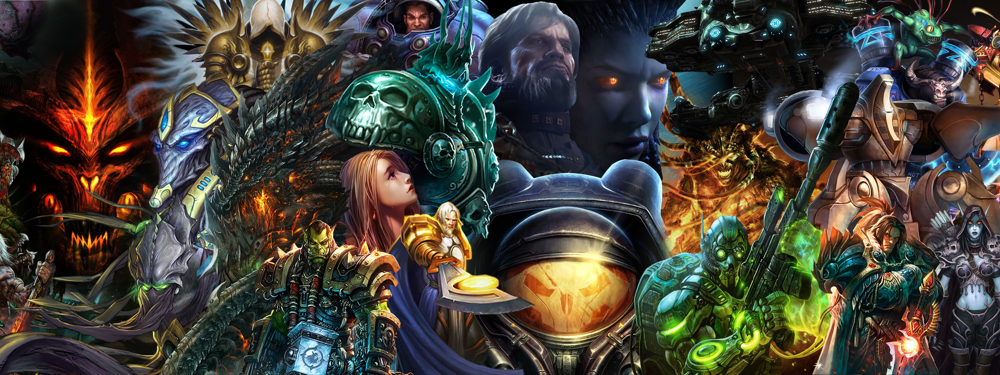 Dual Monitor Wallpaper Overwatch: Blizzard Diablo World Of Warcraft Starcraft Characters