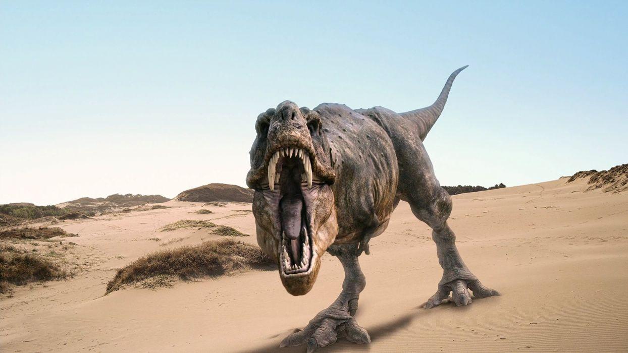 dinosaur Rex roar landscapes desert fangs fantasy dark wallpaper