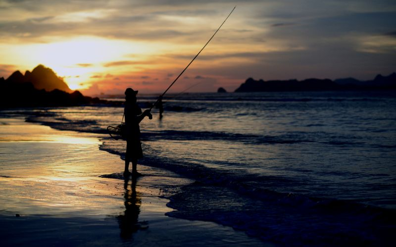 Fishing Person Silhouette Beach Ocean Sunset people ...