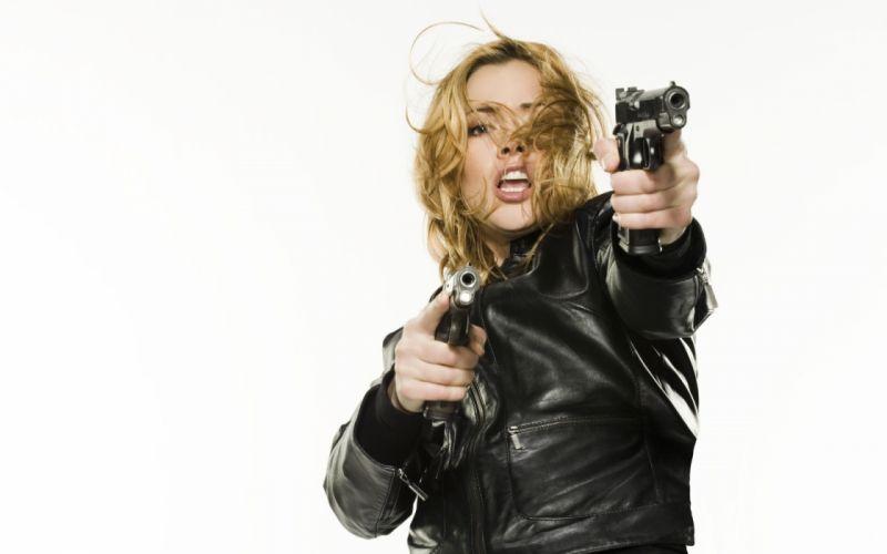 Kristanna Loken actress pov weapons guns handguns pistol women females blondes sexy babes wallpaper
