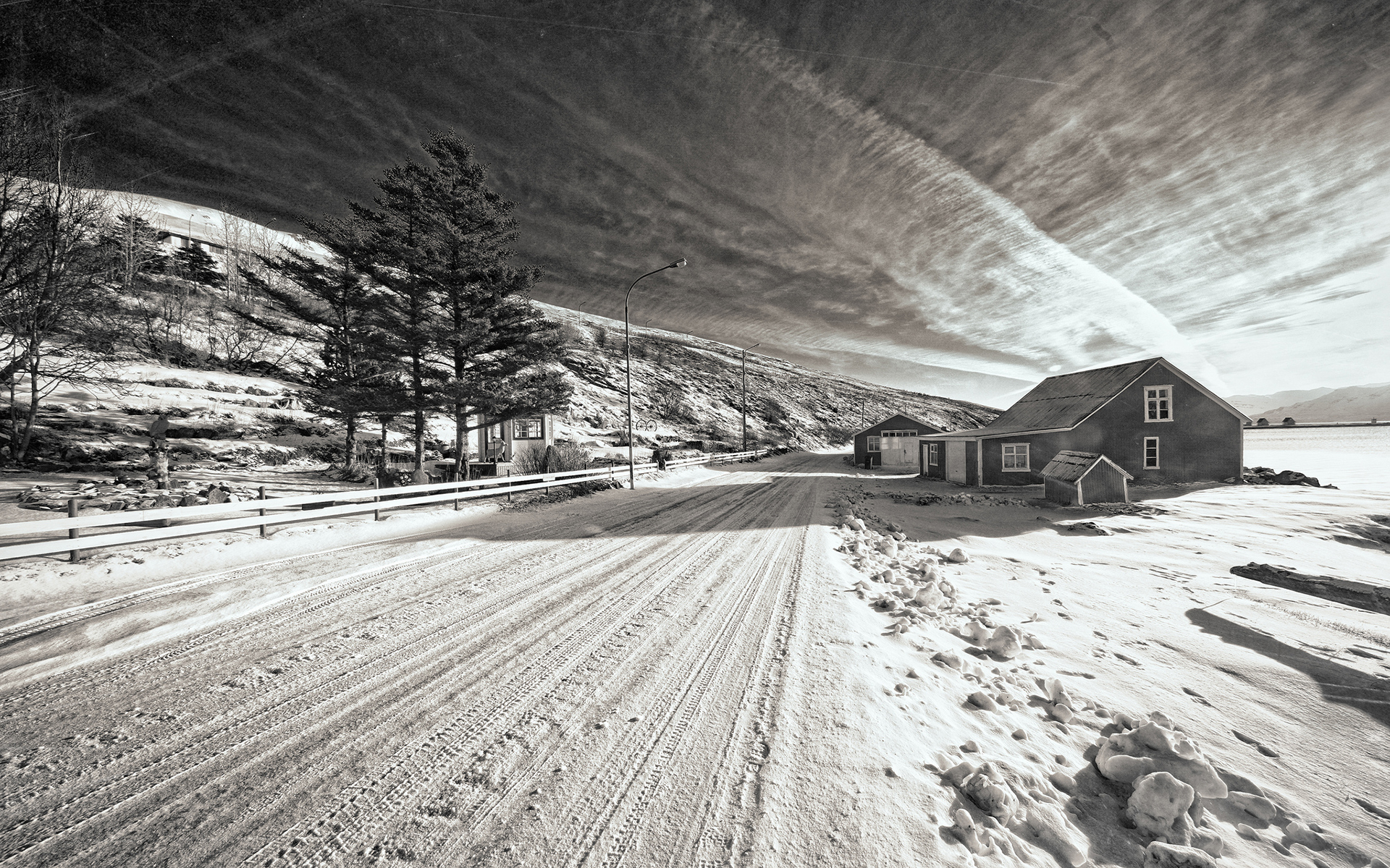 Snow Winter Road House Bw Trees Black White Roads Architecture Houses Sky Clouds Wallpaper 1920x1200 44245 Wallpaperup