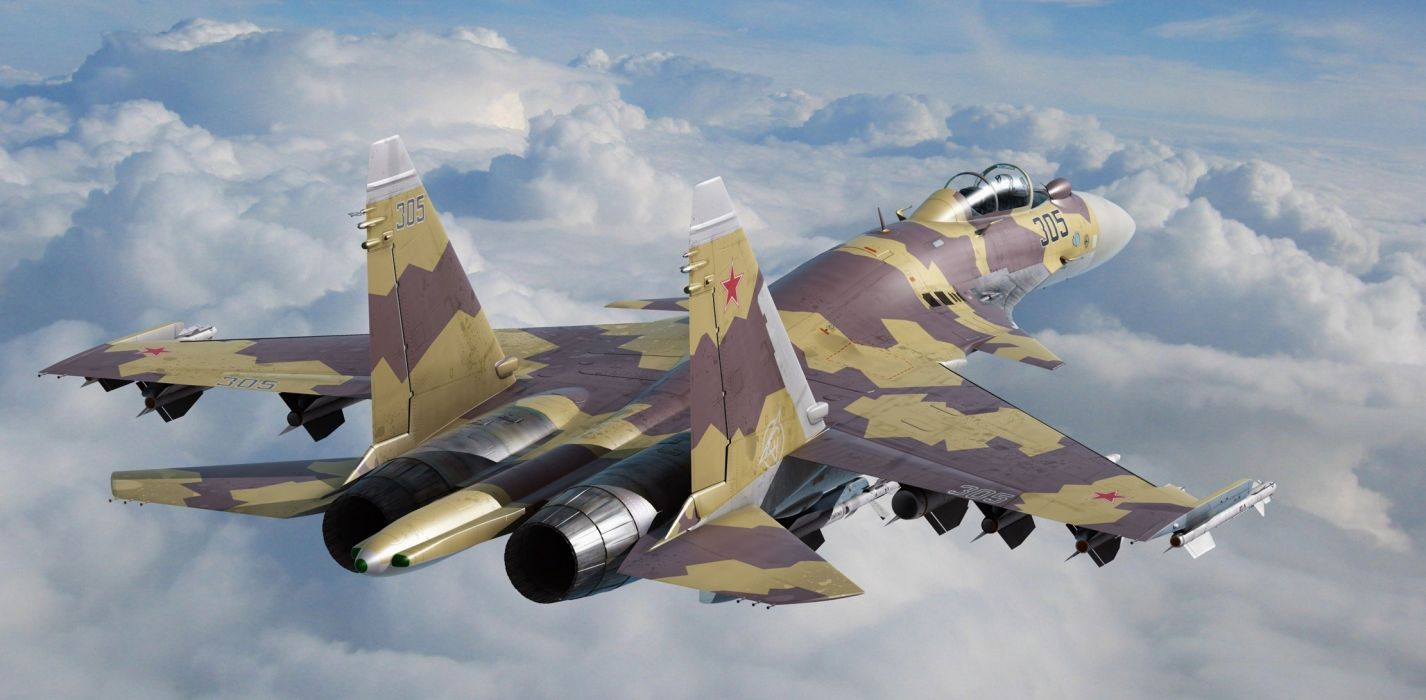 Su-35 fighter jets airplane military wallpaper