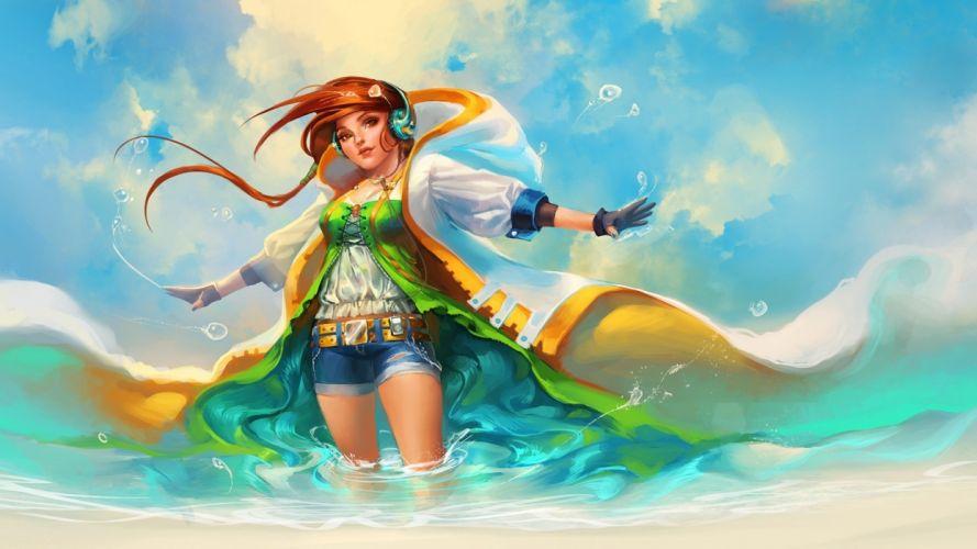 sakimichan anime music headphones ocean sea waves drops bubbles girl wallpaper