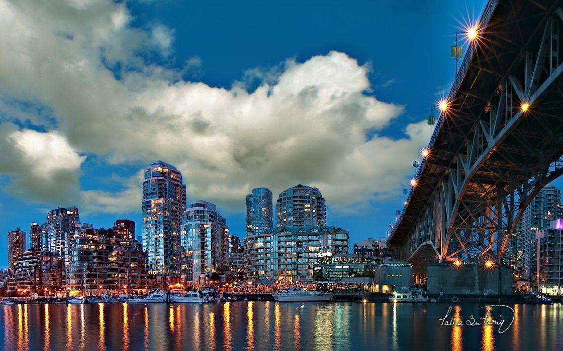 cities buildings architecture sky clouds bridges water reflection wallpaper