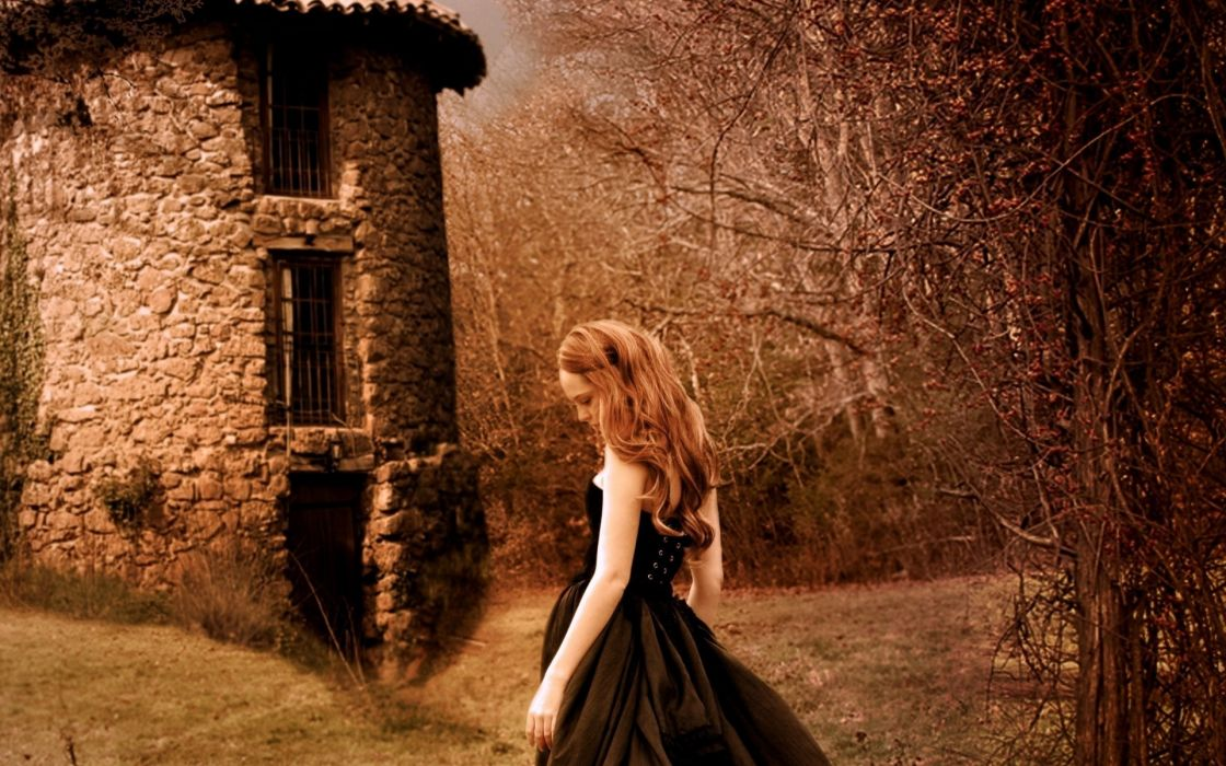 mood sadness sorrow architecture buildings women females girls redheads gothic wallpaper