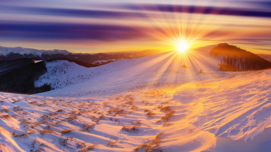 nature landscapes mountains snow winter sky clouds hdr sunset sunrise wallpaper