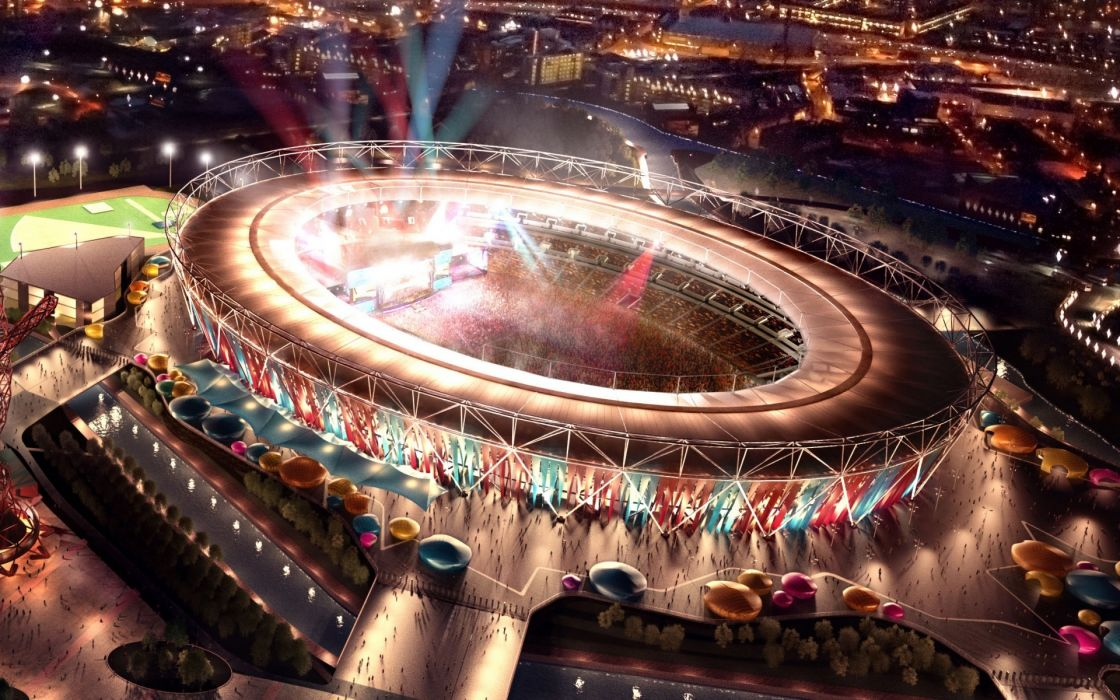 Olympic Stadium London 2012 stadium arena architecture buildings sports people wallpaper