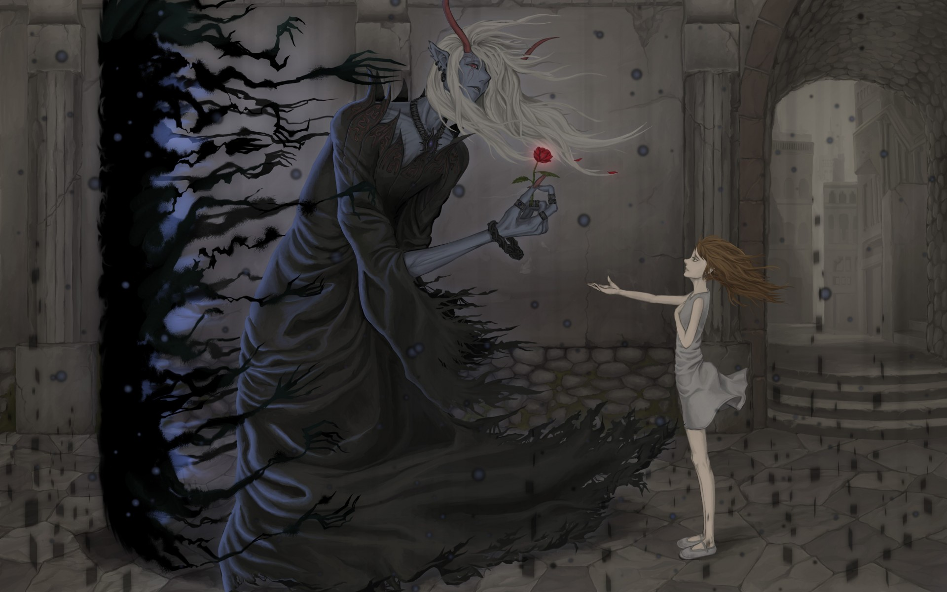 Original Anime Dark Fantasy Demon Girl Wallpaper