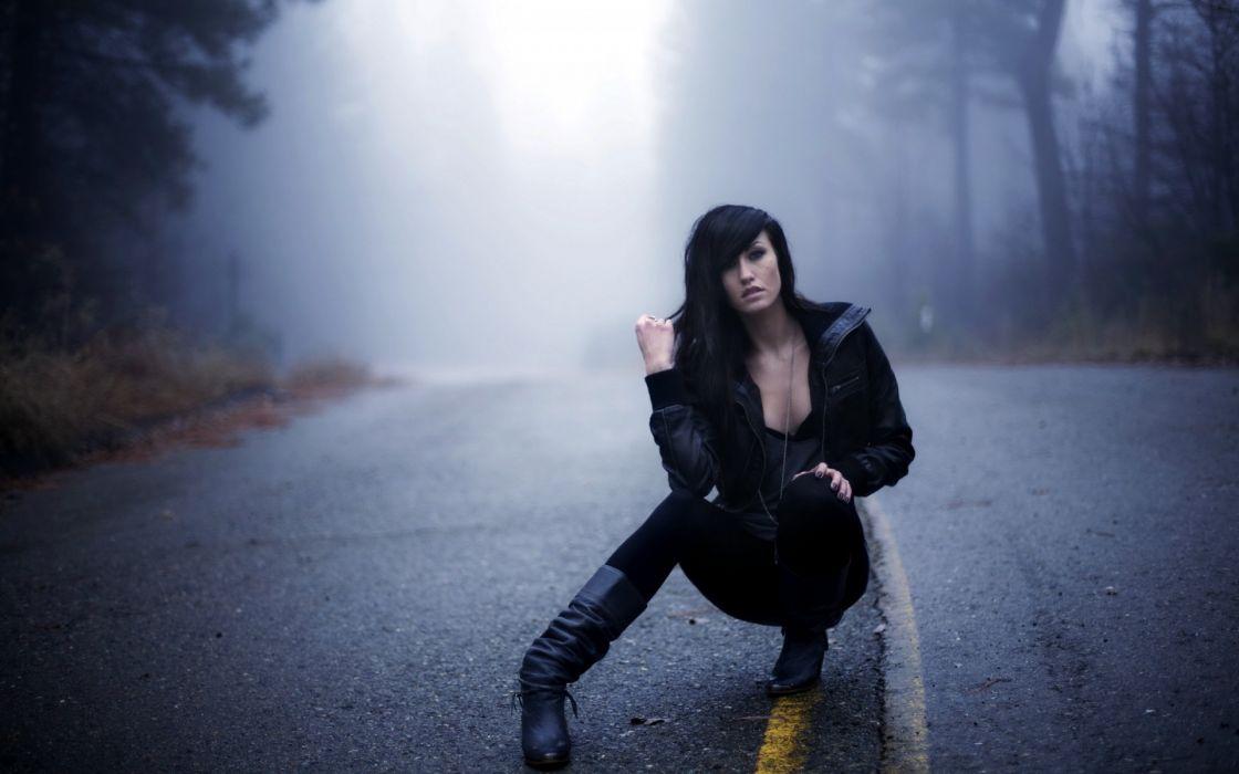 roads women females girls models fog mood wallpaper