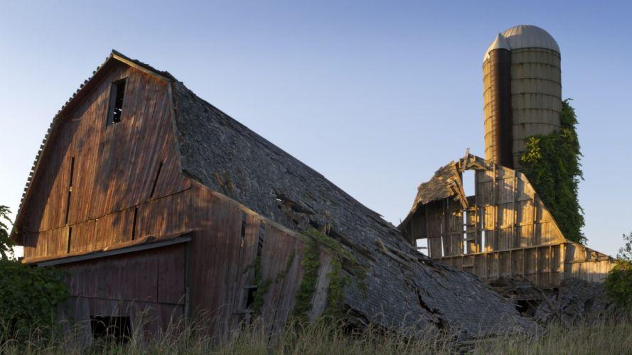 ruins abandon wreck decay rustic architecture buildings barn wood silo wallpaper