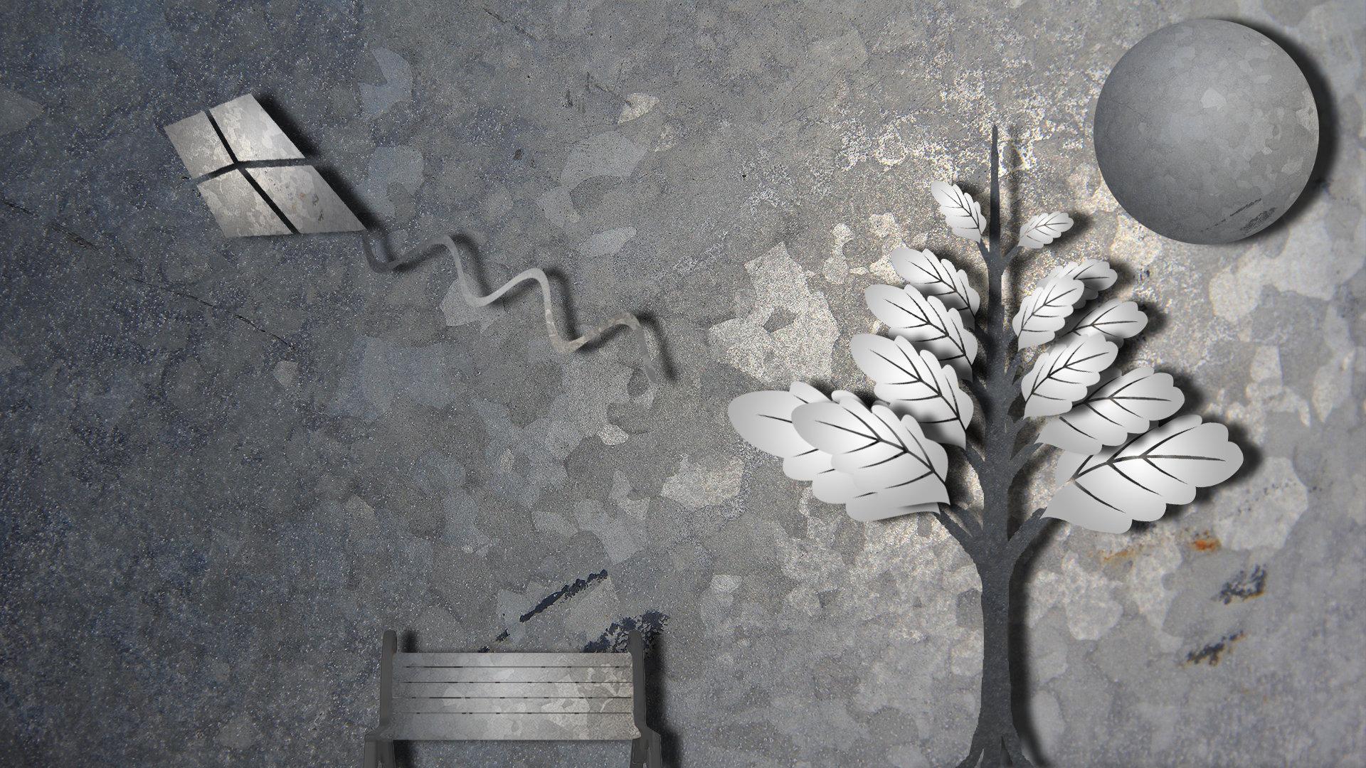 Abstract Tree Kite Bench Gray Grey Nature Bench Wallpaper