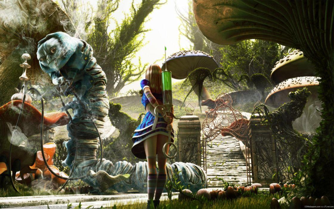 Alice in Wonderland Syringe CG Worm Hookah monster creature fantasy wallpaper