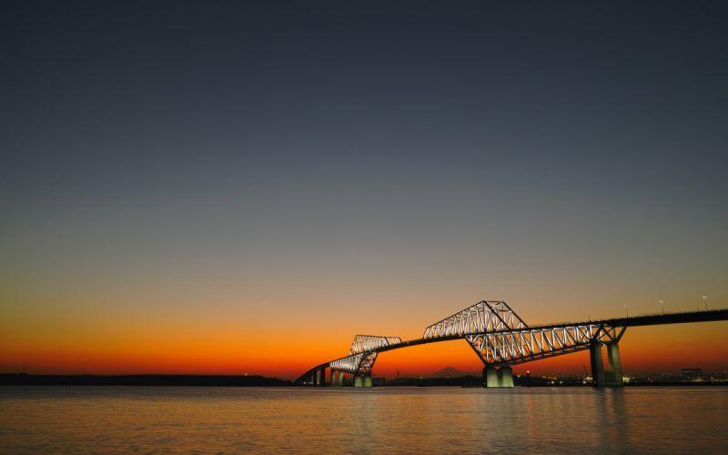 Bridge Ocean Sunset wallpaper