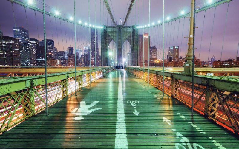 Brooklyn Bridge Bridge Cables New York Buildings Night Lights Path Trail cities wallpaper