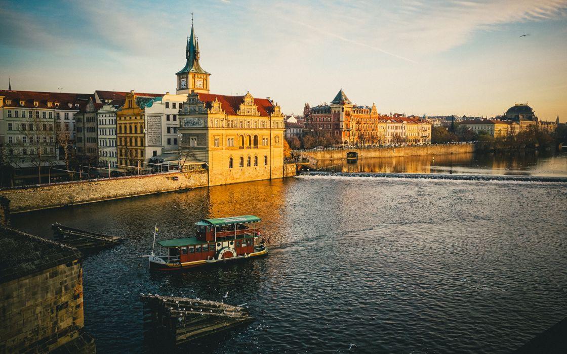 Buildings Boat River wallpaper