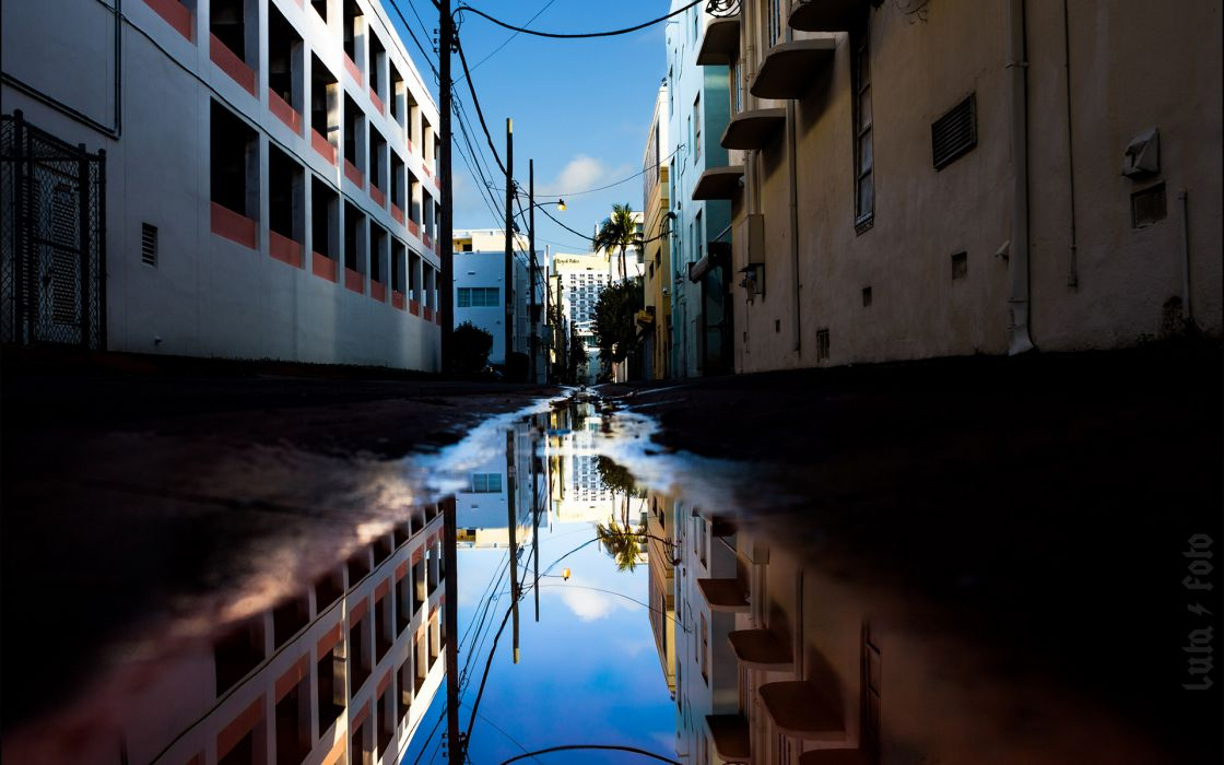 Buildings Puddle Reflection Alley wallpaper