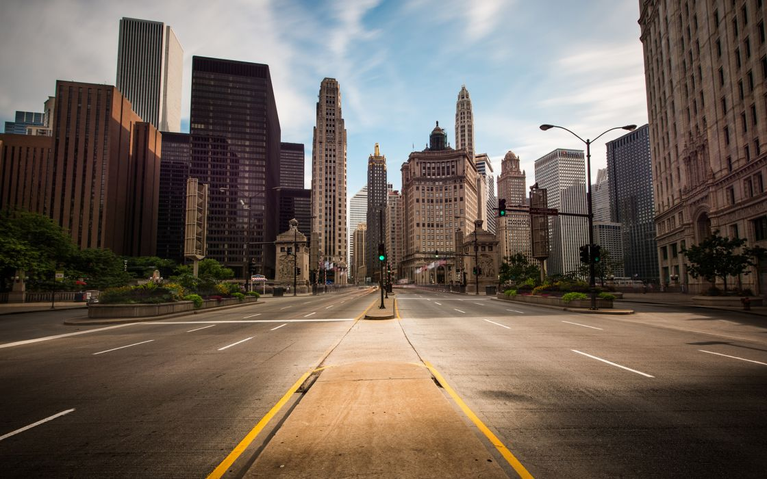 Buildings Skyscrapers Street roads wallpaper