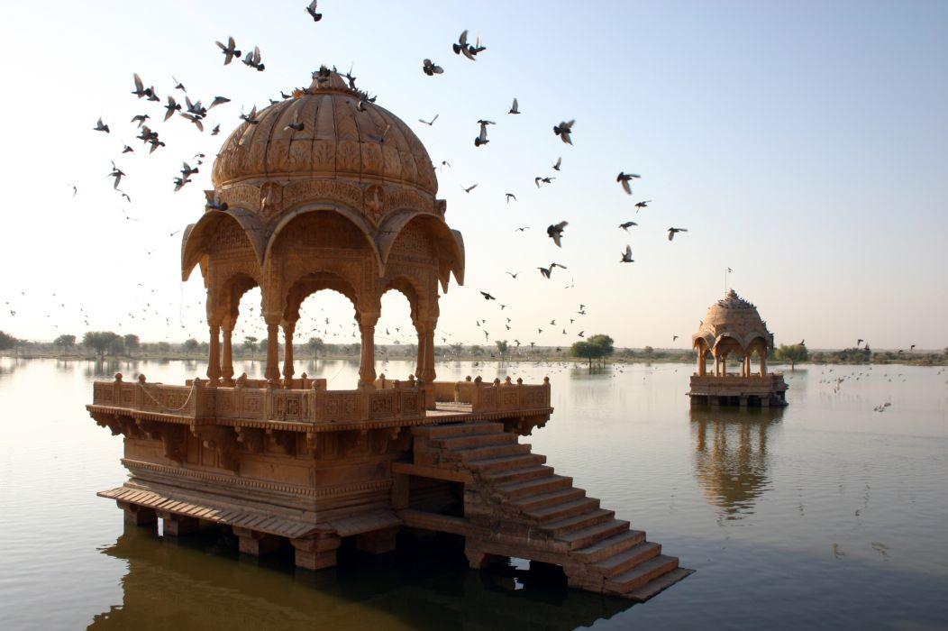 Amar Sagar Lake birds buildings wallpaper