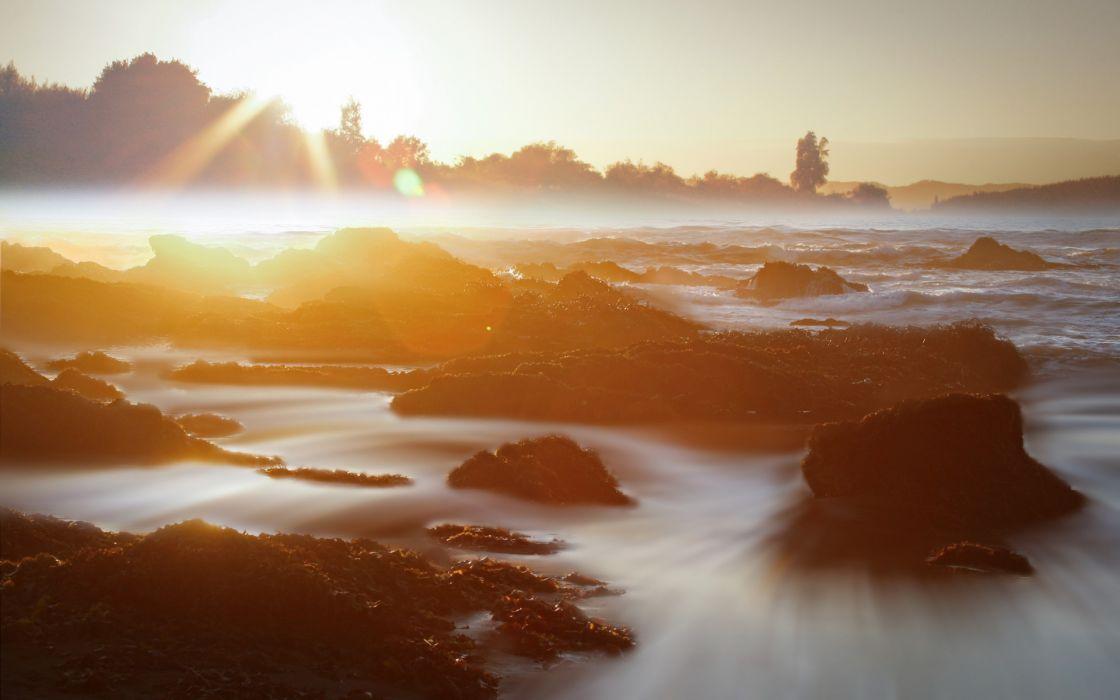 beaches ocean sea sunset sunrise wallpaper