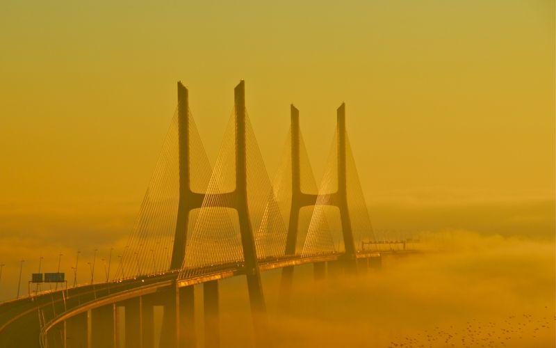 bridge fog wallpaper